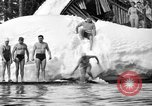 Image of bathers swim in icy water Oregon Mount Hood USA, 1938, second 36 stock footage video 65675043530