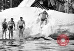Image of bathers swim in icy water Oregon Mount Hood USA, 1938, second 37 stock footage video 65675043530