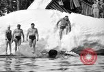 Image of bathers swim in icy water Oregon Mount Hood USA, 1938, second 38 stock footage video 65675043530
