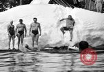 Image of bathers swim in icy water Oregon Mount Hood USA, 1938, second 40 stock footage video 65675043530