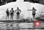 Image of bathers swim in icy water Oregon Mount Hood USA, 1938, second 42 stock footage video 65675043530
