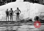 Image of bathers swim in icy water Oregon Mount Hood USA, 1938, second 43 stock footage video 65675043530