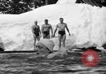 Image of bathers swim in icy water Oregon Mount Hood USA, 1938, second 46 stock footage video 65675043530
