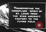 Image of Spirit of Saint Louis monoplane United States USA, 1927, second 8 stock footage video 65675051039