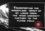 Image of Spirit of Saint Louis monoplane United States USA, 1927, second 11 stock footage video 65675051039