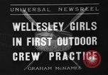 Image of shell boat crew Wellesley Massachusetts USA, 1936, second 1 stock footage video 65675051380