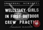 Image of shell boat crew Wellesley Massachusetts USA, 1936, second 9 stock footage video 65675051380