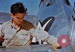 Image of Pilot examines flak damage to his P-47 aircraft Corsica France, 1944, second 37 stock footage video 65675051897