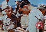 Image of Pilot examines flak damage to his P-47 aircraft Corsica France, 1944, second 60 stock footage video 65675051897