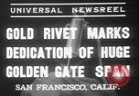 Image of Golden rivet completing the Golden Gate bridge San Francisco California USA, 1937, second 9 stock footage video 65675052024