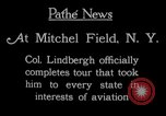 Image of Charles Lindbergh completes 3 month tour in New York Mitchel Field Long Island New York USA, 1927, second 9 stock footage video 65675052495