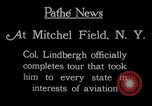 Image of Charles Lindbergh completes 3 month tour in New York Mitchel Field Long Island New York USA, 1927, second 12 stock footage video 65675052495