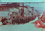 Image of German troops marching to surrender to Western Allies Pilsen Czechoslovakia, 1945, second 1 stock footage video 65675055608