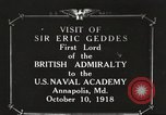 Image of British Navy officers visit US Naval Academy Annapolis Maryland USA, 1918, second 1 stock footage video 65675060987