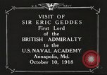 Image of British Navy officers visit US Naval Academy Annapolis Maryland USA, 1918, second 2 stock footage video 65675060987