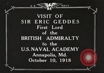 Image of British Navy officers visit US Naval Academy Annapolis Maryland USA, 1918, second 3 stock footage video 65675060987