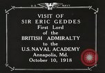 Image of British Navy officers visit US Naval Academy Annapolis Maryland USA, 1918, second 6 stock footage video 65675060987