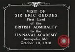 Image of British Navy officers visit US Naval Academy Annapolis Maryland USA, 1918, second 10 stock footage video 65675060987