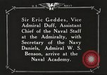 Image of British Navy officers visit US Naval Academy Annapolis Maryland USA, 1918, second 46 stock footage video 65675060987