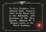 Image of British Navy officers visit US Naval Academy Annapolis Maryland USA, 1918, second 56 stock footage video 65675060987