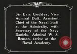 Image of British Navy officers visit US Naval Academy Annapolis Maryland USA, 1918, second 57 stock footage video 65675060987
