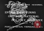 Image of costumed and native dress parade Port of Spain Trinidad, 1932, second 4 stock footage video 65675070935