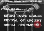 Image of bridal ceremony Kyoto Japan, 1932, second 1 stock footage video 65675070959