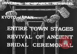 Image of bridal ceremony Kyoto Japan, 1932, second 8 stock footage video 65675070959