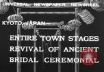 Image of bridal ceremony Kyoto Japan, 1932, second 9 stock footage video 65675070959