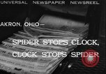 Image of spider in clock Akron Ohio USA, 1932, second 1 stock footage video 65675070961