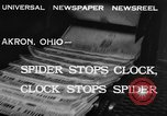 Image of spider in clock Akron Ohio USA, 1932, second 8 stock footage video 65675070961