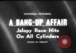 Image of jalopies crashed at demolition derby United Kingdom, 1965, second 3 stock footage video 65675071050