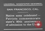 Image of anniversary of admission to Union San Francisco California USA, 1930, second 8 stock footage video 65675071706