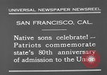 Image of anniversary of admission to Union San Francisco California USA, 1930, second 9 stock footage video 65675071706