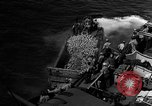Image of Marines in landing vehicle tracked (LVT) during amphibious assault Pacific Theater, 1944, second 50 stock footage video 65675071826