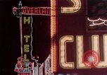 Image of neon signs of casinos and motels Las Vegas Nevada USA, 1958, second 16 stock footage video 65675072077
