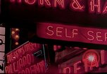Image of neon signs of casinos and motels Las Vegas Nevada USA, 1958, second 24 stock footage video 65675072077