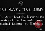Image of Army versus Navy baseball in Anglo American Baseball League London England United Kingdom, 1917, second 4 stock footage video 65675072434