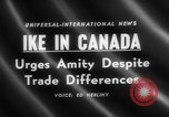 Image of Dwight D Eisenhower Ottawa Ontario Canada, 1958, second 1 stock footage video 65675072511