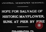 Image of Burned Presidential yacht Mayflower Philadelphia Pennsylvania USA, 1931, second 1 stock footage video 65675072969