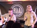 Holly Helms and Cory Hall, of The Springs, performing at The Bluebird Cafe.