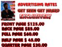 PRICES FOR AD ON THE  MAG