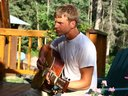 Jeremy Egger jammin' on the back deck.