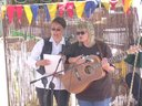 Pauline singing with Cristina Roena Roe at Tolpuddle Martyrs Festival, Dorset.
