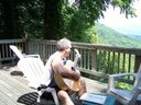 Strumming on the mountaintop in NC.
