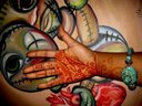"""My oil painting """"When We Play"""". My henna design. my hand."""