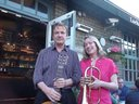 Barbara and Tom outside Lockside Lounge, Camden