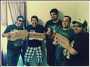 The Knockin' dudes and Bobby (Flatliners, I.O.I) at the end of  recording the demo