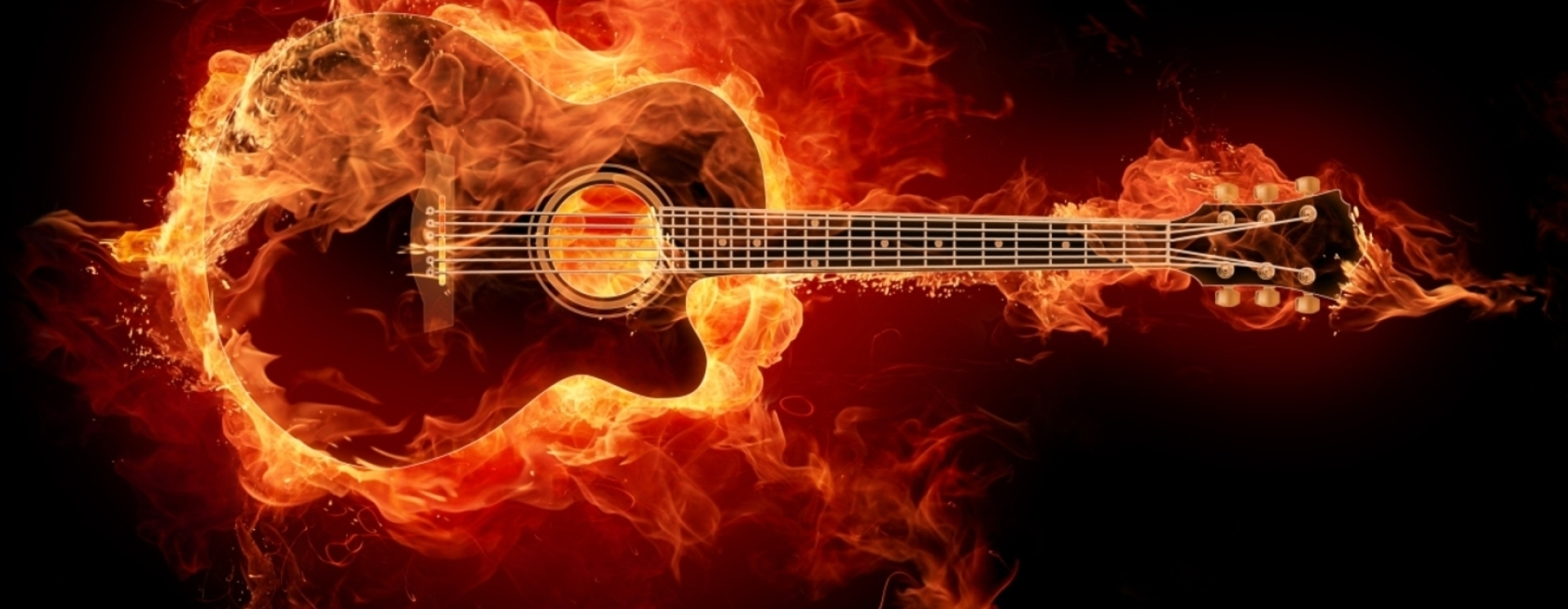 guitar acoustic fire flame - photo #8