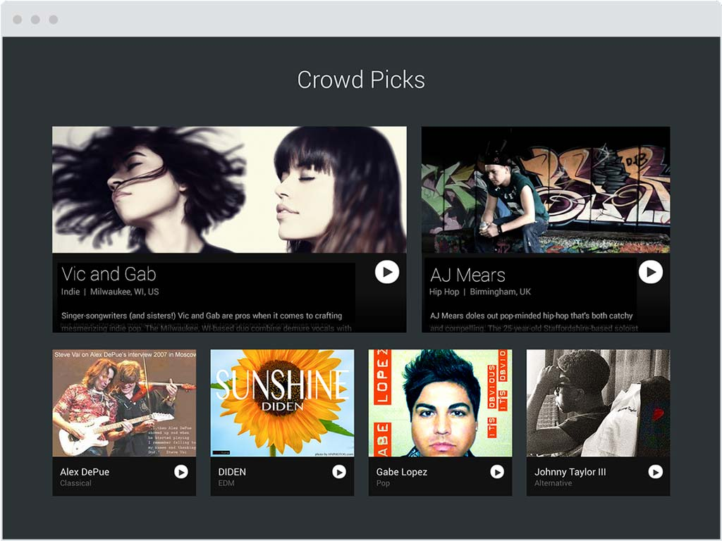 Sample of Crowd Picks spots on ReverbNation homepage.